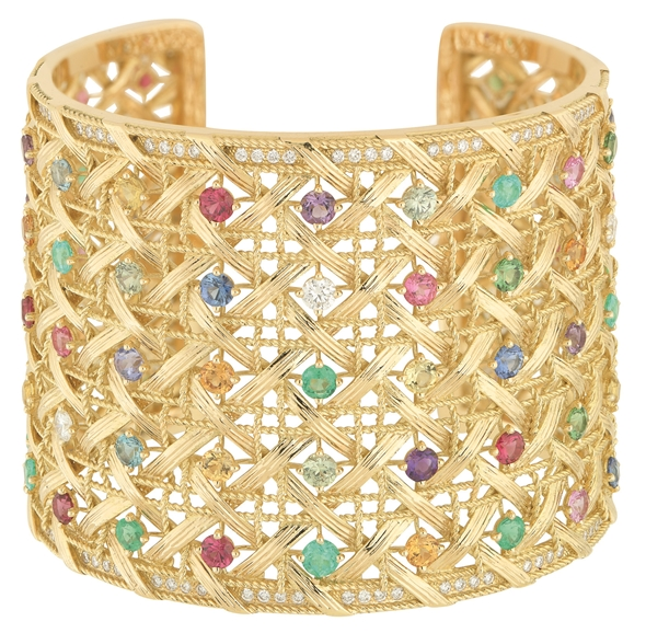 MY DIOR CUFF - YELLOW GOLD AND COLOURED STONES